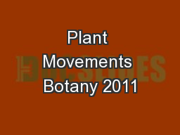Plant Movements Botany 2011