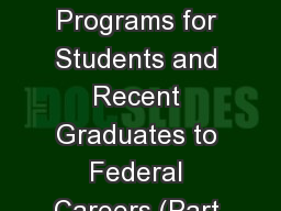 BLM Pathways Programs for Students and Recent Graduates to Federal Careers (Part 2: Human Resources PowerPoint PPT Presentation