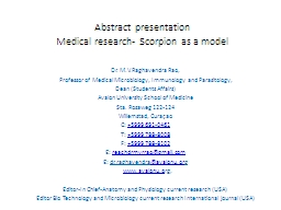 Abstract presentation Medical research- Scorpion as a model