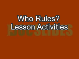 Who Rules? Lesson Activities