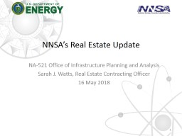 NNSA's Real Estate Update