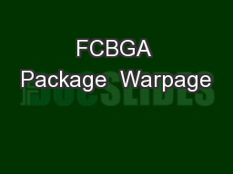 FCBGA Package  Warpage