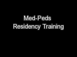 Med-Peds Residency Training