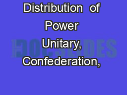 Distribution  of Power Unitary, Confederation, & Federal