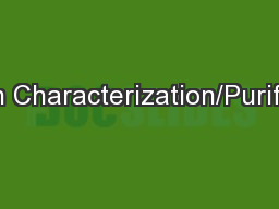 Protein Characterization/Purification PowerPoint PPT Presentation