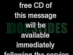 1 Kings 11.14-13.34 A free CD of this message will be available immediately following the service