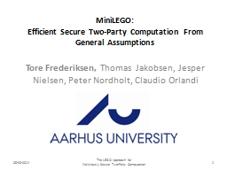 MiniLEGO : Efficient Secure Two-Party Computation From General Assumptions