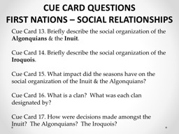 CUE CARD QUESTIONS FIRST NATIONS � SOCIAL RELATIONSHIPS