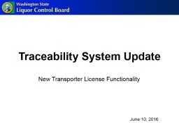Traceability System Update