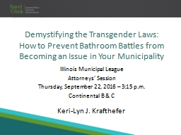 Demystifying the Transgender Laws:  How to Prevent Bathroom Battles from Becoming an Issue in Your