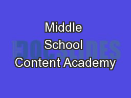 Middle School Content Academy