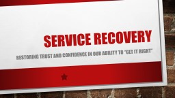 Service  Recovery Restoring