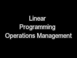 Linear Programming Operations Management