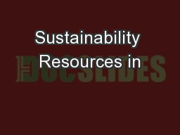 Sustainability Resources in