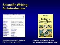 Scientific Writing: An Introduction