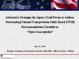 Alternative Strategies the Agency Could Pursue to Address Outstanding National Transportation Safet