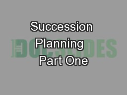 Succession Planning  Part One