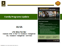Family Programs Update AUSA