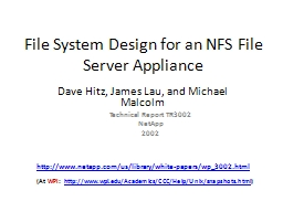 File System Design for  an NFS