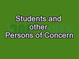 Students and other Persons of Concern
