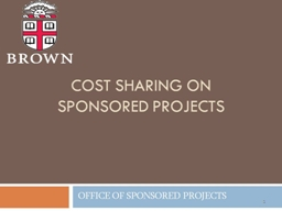 1 Cost Sharing on Sponsored Projects