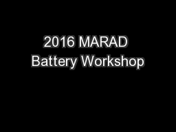 2016 MARAD Battery Workshop PowerPoint PPT Presentation