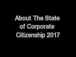 About The State of Corporate Citizenship 2017