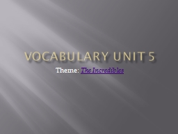 Vocabulary Unit 5 Theme: