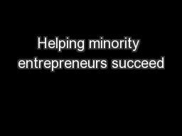 Helping minority entrepreneurs succeed