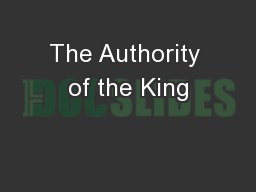 The Authority of the King