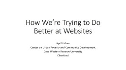 How We're Trying to Do Better at Websites