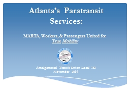 Atlanta's  Paratransit Services: