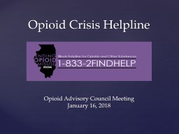 Opioid Advisory Council Meeting