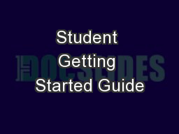 Student Getting Started Guide