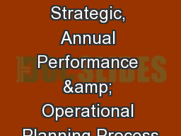 TVET Colleges Strategic, Annual Performance & Operational Planning Process