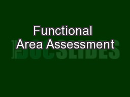 Functional Area Assessment