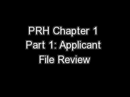 PRH Chapter 1 Part 1: Applicant File Review PowerPoint PPT Presentation