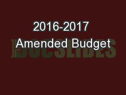 2016-2017 Amended Budget