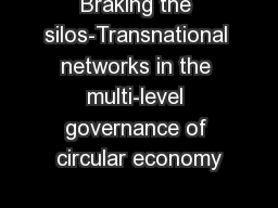 Braking the silos-Transnational networks in the multi-level governance of circular economy