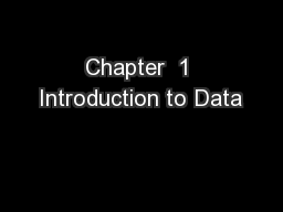 Chapter  1 Introduction to Data