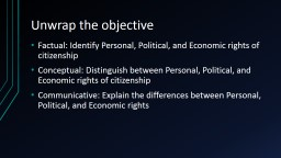 Unwrap the objective Factual: Identify Personal, Political, and Economic rights of citizenship