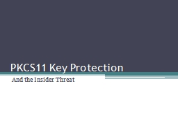 PKCS11 Key Protection And the Insider Threat PowerPoint PPT Presentation