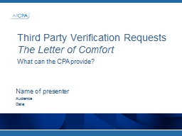 Third Party Verification Requests
