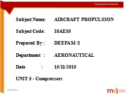 Subject Name:	AIRCRAFT PROPULSION