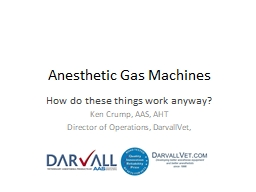 Anesthetic Gas Machines How do these things work anyway?