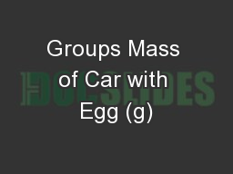 Groups Mass of Car with Egg (g)