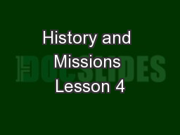 History and Missions Lesson 4