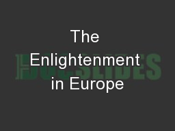 The Enlightenment in Europe