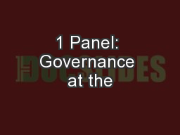 1 Panel: Governance at the