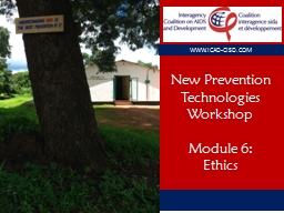 New Prevention Technologies Workshop